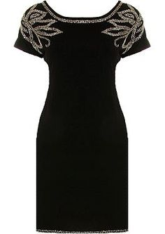 Diamond Leaves Dress - Relish the impeccable craftsmanship on a classic LBD gone glam with luxe embellishment. Features a classic round neckline emphasized with cleverly-contoured embellishment, a continuation of sparkle at the shoulders with a beaded leaf motif, and a gorgeous form-fitting silhouette to finish.
