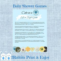 Cute as a Button Left Or Right Baby Shower Game - Instant Download - Bottoms and Light Blue Background #cuteasabuttonbabyshowergame #leftorrightbabyshowergame