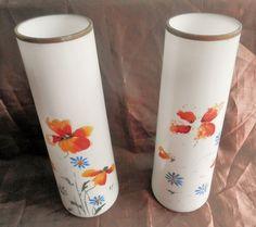 Vase en opaline cr me d cors branche fleuries ancien - Branche deco vase ...