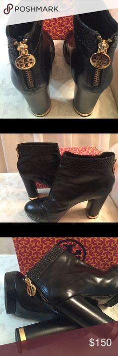 Tory Burch Stunning Sexy Platform Boots Authentic Tory Burch Ankle Boots , sold out!, black with piton Leather Trim,gold signature in zippers, gold details in heels,very good condition, Heels 4 1/2 inch. Tory Burch Shoes Ankle Boots & Booties