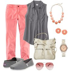 """""""Teacher Outfit- Coral  Gray"""" by chuncoa on Polyvore"""