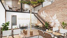 Cafe Shop Design, Coffee Shop Interior Design, Restaurant Interior Design, Modern Interior Design, House Design, Restaurant Ideas, Tea Design, Coffee Design, Cafe Exterior