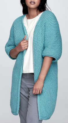 Free Knitting Pattern for Easy Garter Stitch Minimalist Jacket - Long cardigan w. Easy Knitting Pattern for Easy Garter Stitch Minimalist Jacket - Long cardigan with long sleeves and flat garter stitch. Sizes XS / S, M, L, XL, 2 / Easy Knitting Patterns, Knitting Designs, Knitting Stitches, Free Knitting, Knitting Sweaters, Crochet Patterns, Poncho Patterns, Knitting Ideas, Sewing Patterns