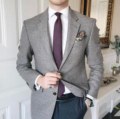 Blazer Outfits Men, Mens Fashion Blazer, Stylish Mens Outfits, Best Mens Fashion, Suit Fashion, Grey Sport Coat, Blue Suit Men, Business Casual Attire, Classy Men
