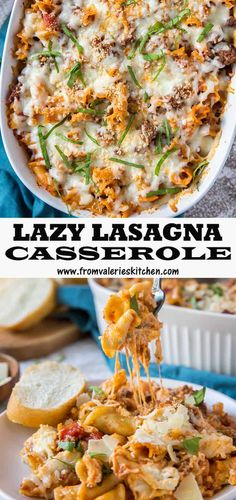 This Lazy Lasagna Casserole is a no-fuss way to satisfy your craving for lasagna. Bake it after assembling or freeze it for an easy meal on a busy day. Lasagna Casserole, Casserole Recipes, Casserole Dishes, Pasta Recipes, Cooking Recipes, Pasta Lasagna, Fun Recipes, Pasta Dishes, Food Dishes
