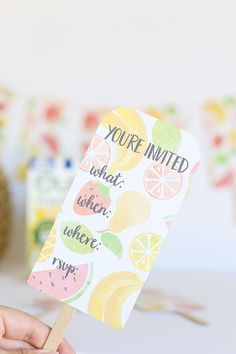 Free printable invitations shaped like a fruit popsicle. Perfect for a summer pool party or kid's birthday party.