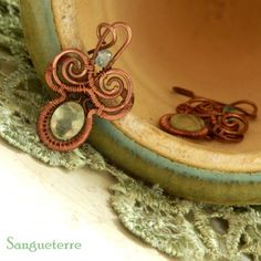 Samharad * summer earrings * wirewrapping * wirewrapped * wired * jewelry * copper * art nouveau * design