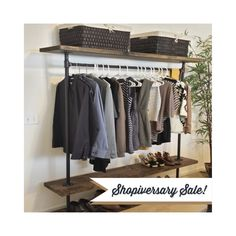 I Rack Double Shelf   Pipe And Wood Furniture   Industrial Clothing Rack   Clothes  Rack