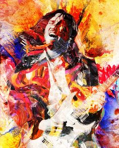 John Frusciante Art Print, Red Hot Chili Peppers