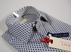 Regent by Pancaldi slim fit shirt blue patterned stretch