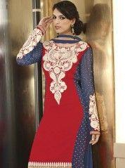 Attractive red and blue churidar kameez: KSL2360