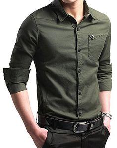 FRTCV Men s Button Down Shirt Causal Cotton Long Sleeve Dress Shirts Army  Green Tag 2XL  26719cc44f70