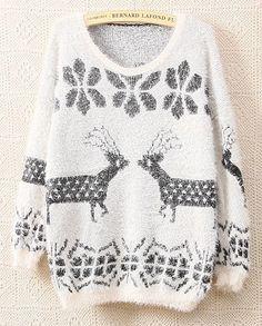 White Long Sleeve Deer Snowflake Pattern Fluffy Sweater