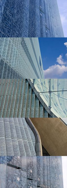 Pattern covering whole facade of POLIN - Museum of the History of Polish Jews in Warsaw. (designed by Jankiewicz Studio)