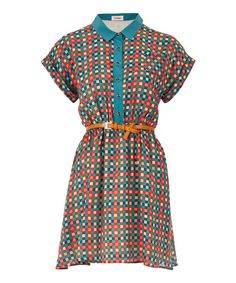 Take a look at this Louche Blue & Pink Checkerboard Leroy Dress on zulily today!