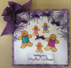Using Stamps by Chloe Gingerbread Men, Crystal Branch and Perdian Indigo WOW powder!