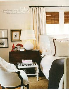 White curtain with rings Bedroom, black and white -- love the bamboo shades. by Ashley Haley for Real Living Magazine ~~~ Traditional Bedroom, Home Bedroom, Dreamy Bedrooms, Bedroom Decor, Beautiful Bedrooms, Interior Design, House Beds, Home Decor, Room