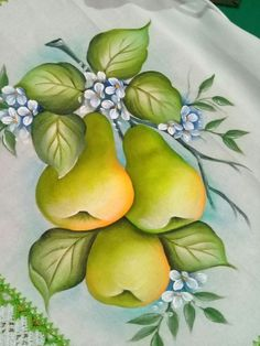 : Fruit Fabric Painting Tips & Risks Photos - - Fruit Painting, One Stroke Painting, China Painting, Tole Painting, Fabric Painting, Painting On Wood, Painting Patterns, Fabric Paint Designs, Hand Drawn Flowers