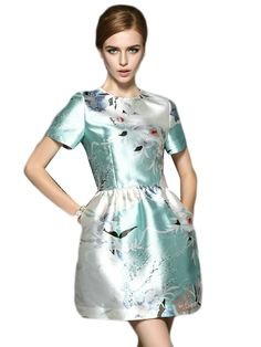 Short Sleeve Floral Print O-Neck Bubble Dress