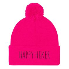 Throw Happy- Pom Pom Knit Cap Beanie hat for shot put throwers, discus thrower, hammer throwers, and javelin throwers- by Throw Happy track and field apparel and merchandise. Summer Hiking Outfit, Hiking Outfits, Pink Beanies, Walk By Faith, Pom Pom Hat, Clothing Co, Beanie Hats, Beanie Outfit, Caps Hats