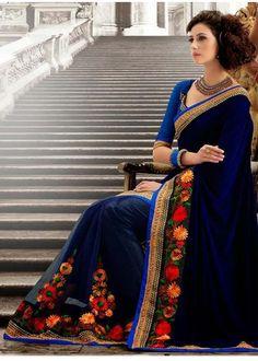 Designer Wear Navy Blue Party Wear Sari