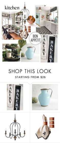 Love this Fixer Upper style 'BAKERY' sign.   So beautiful and hand made!  Bakery Style by theworldisatourfeet on Polyvore featuring interior, interiors, interior design, home, home decor, interior decorating, Feiss, Pier 1 Imports, Mark & Graham and kitchen
