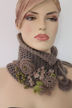 Hand knitted and Crocheted Pale Olive Scarf - Neck Warmer It is a very cozy, warm and soft accessory. Col Crochet, Poncho Au Crochet, Crochet Collar, Freeform Crochet, Crochet Scarves, Irish Crochet, Crochet Clothes, Crocheted Scarf, Crochet Neck Warmer