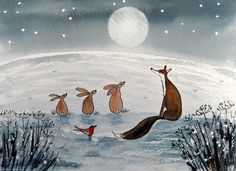 Original Watercolour Painting - FOX, HARES AND ROBIN OUT ON A MOONLIT EVENING…