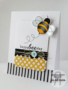 Card by Jen del Muro. Reverse Confetti stamp set: The Buzz. Confetti Cuts: The Buzz and Double Edge Wonky Scallop Border. Bumblebees. Black and Yellow. Friendship card. Any occasion card.