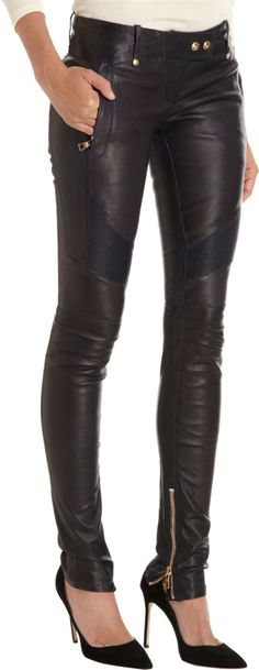 Balmain Leather Moto Pants