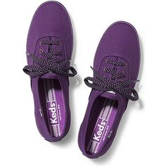 Keds Champion Micro Dot Lace ($45) ❤ liked on Polyvore featuring shoes, sneakers, wine purple, lacing sneakers, wide shoes, colorful sneakers, lace up shoes et multicolor sneakers