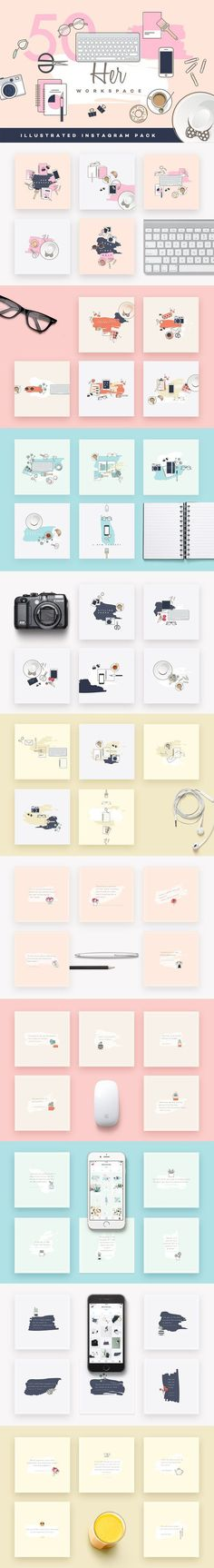 Her Workspace illustrated Insta pack   @creativework247
