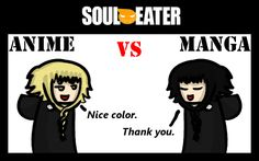 Soul Eater Anime vs. Manga : Medusa by nobodygoddammit on deviantART