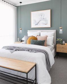 Guest Bedroom Colors, Bedroom Green, Bedroom Inspo, Home Decor Bedroom, Home Room Design, Room Inspiration, Interior Design, Bedhead, Light Painting
