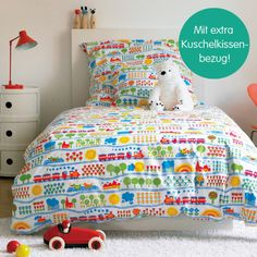 Trains kids bedding set, originally designed in 1970 by Graziela Preiser and available for purchase today--adorable vintage style!