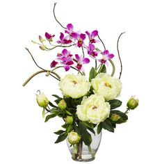 Nearly Natural Peony and Orchid Silk Flower Arrangement in White | Wayfair