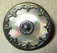 19th C. Antique Paris Back Sterling Silver Mounted Mother of Pearl Button