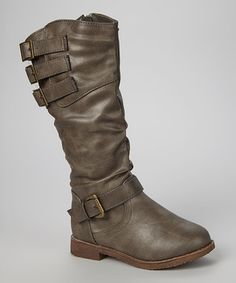 Look at this #zulilyfind! Gray Buckle Slouch Boot by Shoes of Soul #zulilyfinds