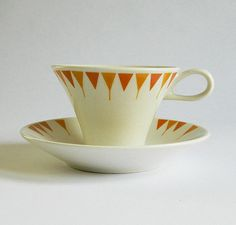 Ben Siebel Cup and Saucer  Impromptu Aztec by by MyOtherMind, $10.50