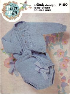 Vintage PDF Baby Knitting Pattern - Peter Pan P150 - romper set Instant Download [Interesting design - I don't know if my grandson's mummy will like it for me to knit. ;) Mo]