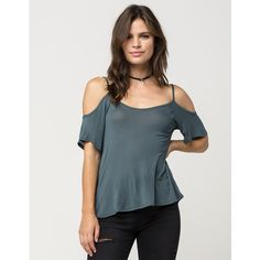 Full Tilt Baby Ribbed Cold Shoulder Womens Top ($20) ❤ liked on Polyvore featuring tops, full tilt tops, cut-out tops, draped tops, cut shoulder tops and blue top