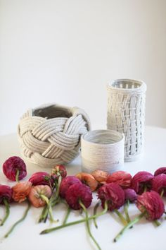 DIY rope vases take on a different feel depending on the size of the rope and the pattern.
