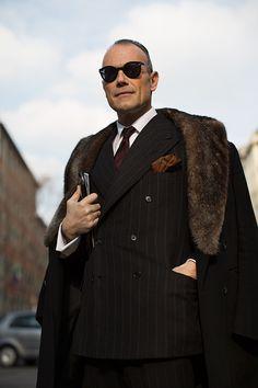 On the Street….Men in Fur Collars, Milan & Paris