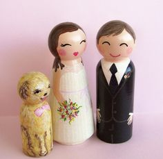 Custom Wedding Cake Toppers by Hand Painted Love Boxes via Etsy Bride, Groom & Dog 150.00 per set