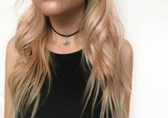 Black faux suede single strand choker with moon by EndlessUniverse
