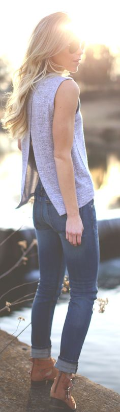 Open back shirt and cuffed jeans