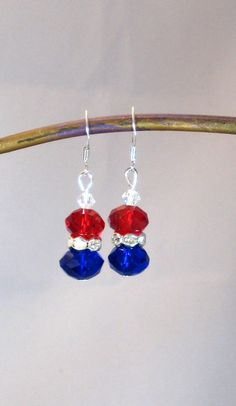 Red White Blue & Silver Dangle Earrings by RoseGirlCreations, $10.00