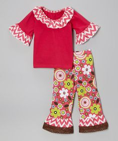 Hot Pink Ruffle Top & Floral Pants - Infant, Toddler & Girls $32.99