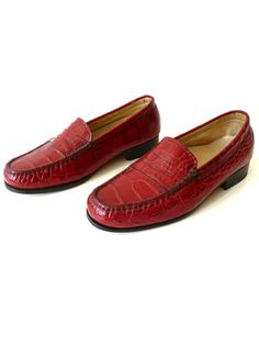 8015872517a Crocodile Penny Loafers Hand Stitched 1 Pair Only Made