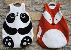 "By ""à propos de..."" Atelier Faggi. Handmade in Italy, baby sleeping bag Panda and Fox"